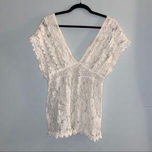 Arden B White Lace Blouse